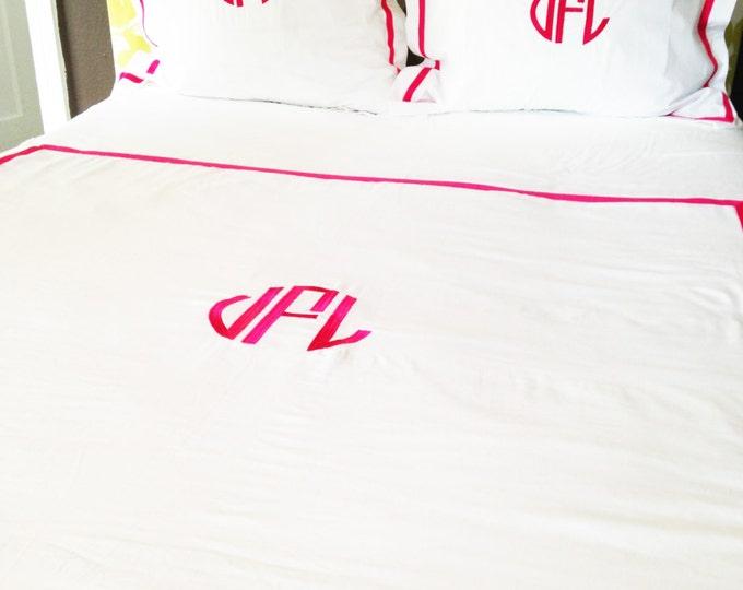 Featured listing image: Monogram Full/Queen Duvet with Ribbon Trim / Monogram Bedding / Comforter