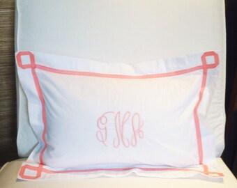Monogram Boudoir Pillow Sham with  Ribbon Trestle Trim / Monogram Bedding / Baby Pillow / Boudoir Pillow