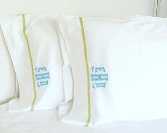 Monogram Applique Sheet Set with Ribbon Trim / Monogram Bedding