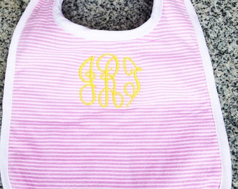 Baby Bib with Monogram in Pink Seersucker / Monogram Baby Gift