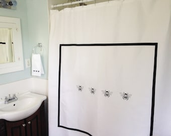 Shower Curtain with Embroidered Bees / Bath Curtain / Shower Curtain