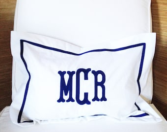 Monogram Applique Boudoir Pillow / Baby Pillow / Sham