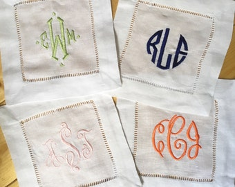 Monogram Hemstitch Cocktail Napkins / Monogram Gift - Set of 4