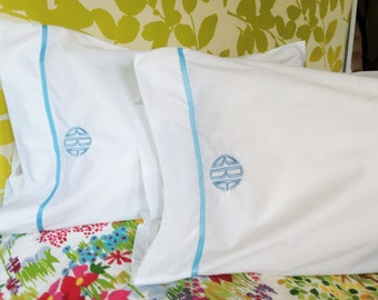 Monogram King Pillow Cases with Ribbon Trim / Monogram Bedding - Set of 2