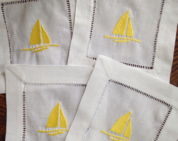 Featured listing image: Cocktail Napkin with Embroidered Sailboat/ Monogram Gift - Set of 4