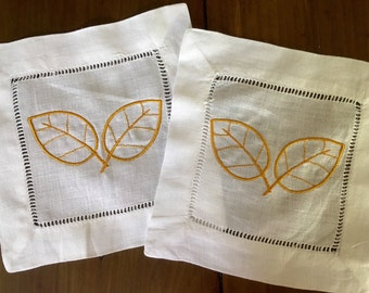 Monogram Cocktail Napkins with fall leaves / fall decor / Monogram Gift - Set of 4