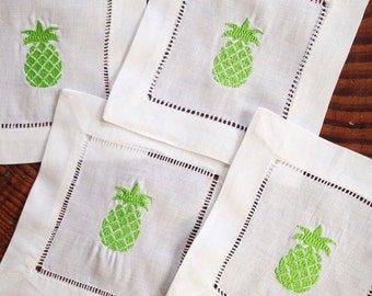 Monogram Cocktail Napkins with Pineapple / Monogram Gift - Set of 4