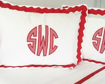 Applique Monogram Standard Pillow Sham with Scalloped Ribbon Trim / Monogram Bedding / Applique Sham