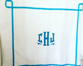Monogram Applique Shower Curtain with trestle trim / Bath Curtain