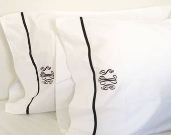 Monogram Queen Sheet Set with Ribbon Trim / Monogram Bedding / Queen Sheets / Wedding Gift
