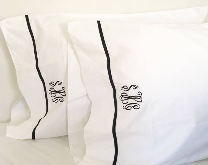 Featured listing image: Monogram Queen Sheet Set with Ribbon Trim / Monogram Bedding / Queen Sheets / Wedding Gift