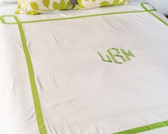 Monogram King Duvet with Ribbon Trestle Trim  / Monogram Bedding / Comforter / Coverelet