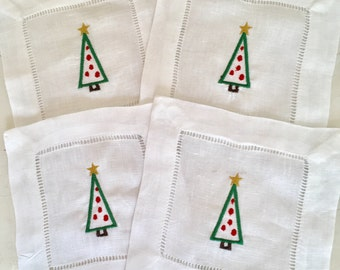 Christmas Cocktail Napkin with Embroidered Christmas Tree/ Monogram Gift - Set of 4