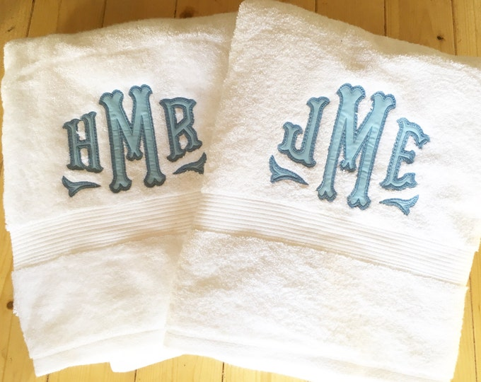 Featured listing image: Monogram Applique Terry Cloth Bath Towel / Terrycloth Towel