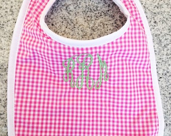 Baby Bib with Monogram in Pink Gingham / Monogram Baby Gift