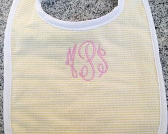 Baby Bib with Monogram in Yellow Seersucker / Monogram Baby Gift / Baby Gift