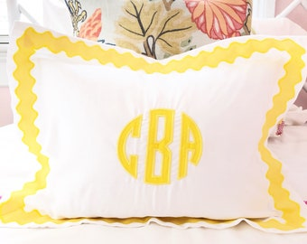 Monogram Applique Boudor Sham with Ribbon Scallop Trim / Sham / Duvet / baby pillow