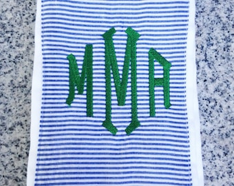 Baby Burp Cloth with Monogram in Blue Seersucker / Monogram Baby Gift