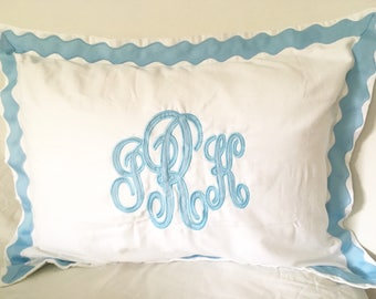 Monogram Applique Standard Sham with Ribbon Scallop Trim / Sham / Duvet / Pillowcase