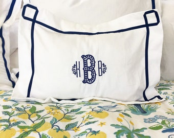 Monogram Boudoir Baby Pillow Sham with  Ribbon Trestle Trim / Monogram Bedding / Baby Pillow / Boudoir Pillow