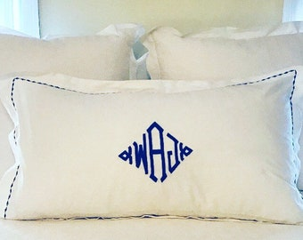 Monogram King Pillow Sham with Custom Embroidered Border / Monogram Bedding