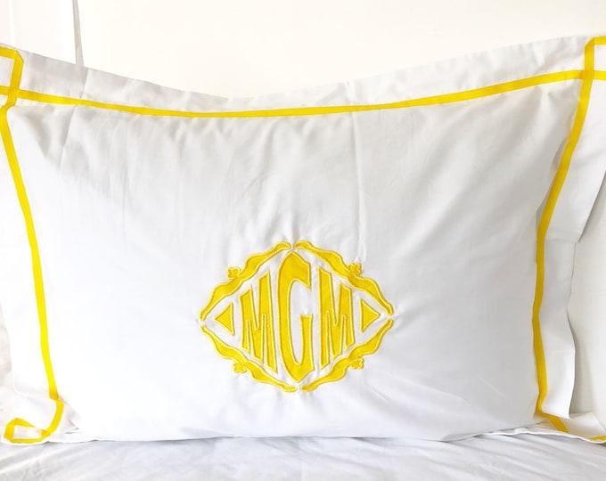 Featured listing image: Monogram Appliqué Standard Pillow Sham with Trestle Trim  / Monogram Bedding