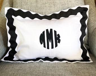 Monogram Applique Boudor Sham with Ribbon Scallop Trim / Sham / Duvet / baby pillow