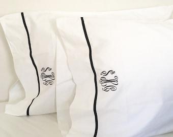 Monogram Full Sheet Set with Ribbon Trim / Monogram Bedding