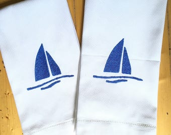 Monogram Hand Towel with Embroidered Sailboat / Wedding Gift / Monogram Gift / mothers Day Gift / host gift