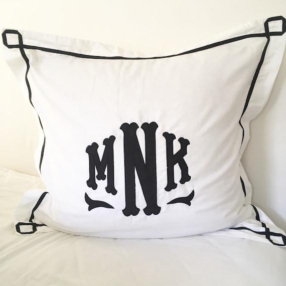 Monogram Applique Pillow Sham with Trestle Trim   Pillow  Monogram Bedding