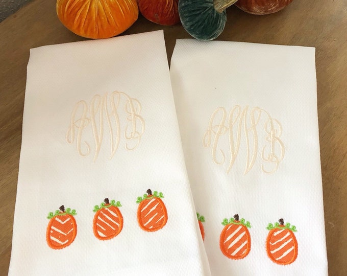 Featured listing image: Fall Monogrammed Hand Towel with Applique Pumpkins / Thanksgiving Decor /