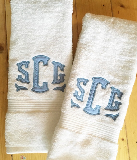 Embroidered Terry Cloth Hand Towels: Monogram Applique Terry Cloth Hand Towel / Guest Towel