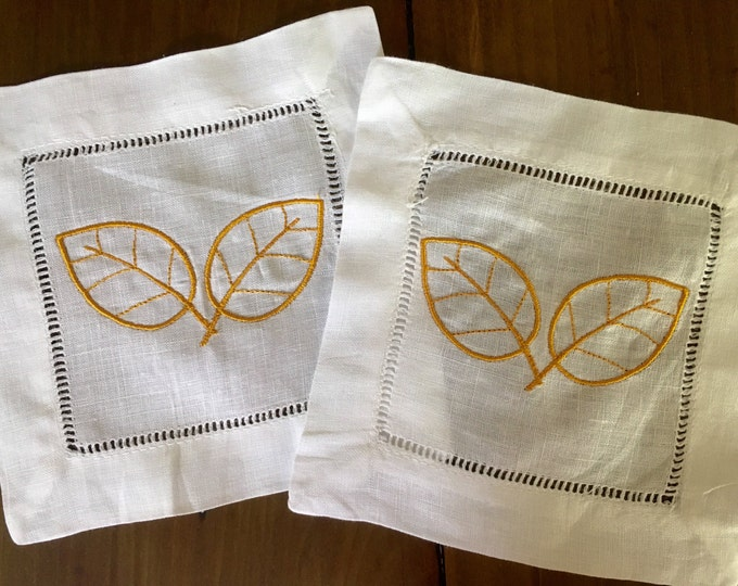 Featured listing image: Monogram Cocktail Napkins with fall leaves / fall decor / Monogram Gift - Set of 4