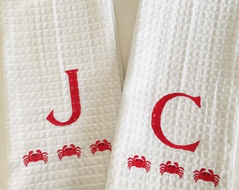 Monogram Waffle Weave Kitchen Towel with Crabs / Monogram Dish Towel / Host Gift