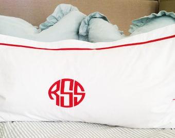 Monogram King Pillow Sham with Ribbon Trestle Trim / Monogram Bedding