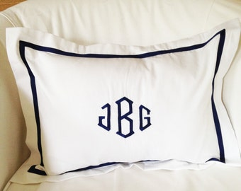 Monogram Boudoir Pillow Sham with Ribbon Trim / Monogram Bedding / Baby Gift / Boudoir Pillow / Lumbar / Baby Pillow