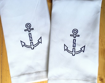 Monogram Hand Towel with Embroidered anchor / Wedding Gift / Monogram Gift / mothers Day Gift / host gift