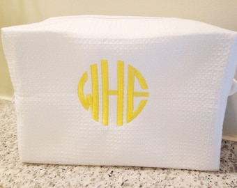 Monogram Waffle Weave Cosmetic Bag / Makeup Bag / Dopp Kit / Graduation Gift