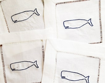 Cocktail Napkin with Embroidered Whale/ Monogram Gift - Set of 4