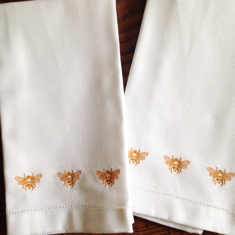 Hemstitch Hand Towel with Embroidered Bees / Monogram Gift / image 0