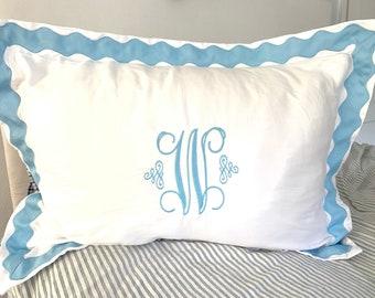 Monogram Standard Pillow Sham with Scalloped Ribbon Trim / Monogram Bedding