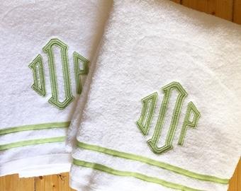 Monogram Applique Terry Cloth Bath Towel with Ribbon Trim / Guest Towel