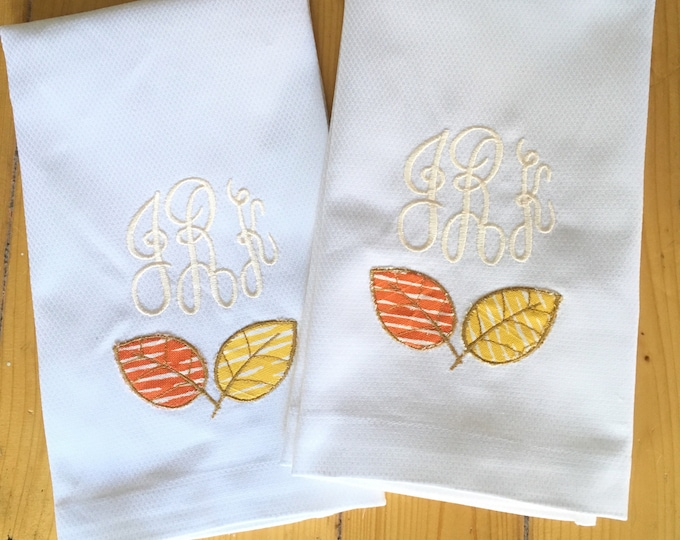 Featured listing image: Monogram Fall Hand Towel with Applique Leaves / Fall Decor / Thanksgiving Decor
