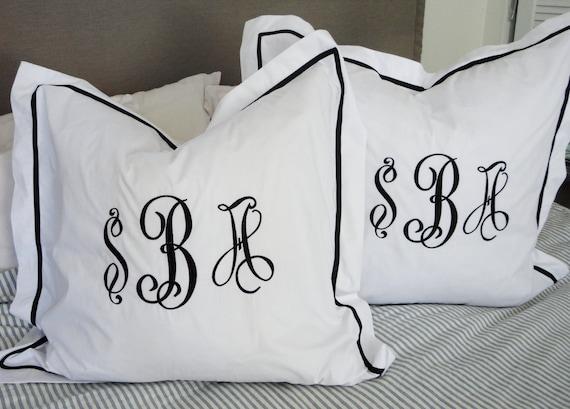 Monogram Standard Pillow Sham with Ribbon Trim  Monogram Bedding  Wedding Gift  Graduation Gift