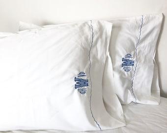 Monogram Twin Sheet Set with Custom Embroidered Border / Monogram Bedding
