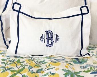 Monogram Boudoir Baby Pillow Sham with  Ribbon Trestle Trim / Monogram Bedding / Baby Pillow / Boudoir Pillow