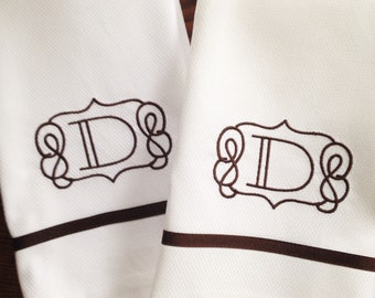 Monogram Hand Towel with Ribbon Trim / Wedding Gift / Monogram Gift