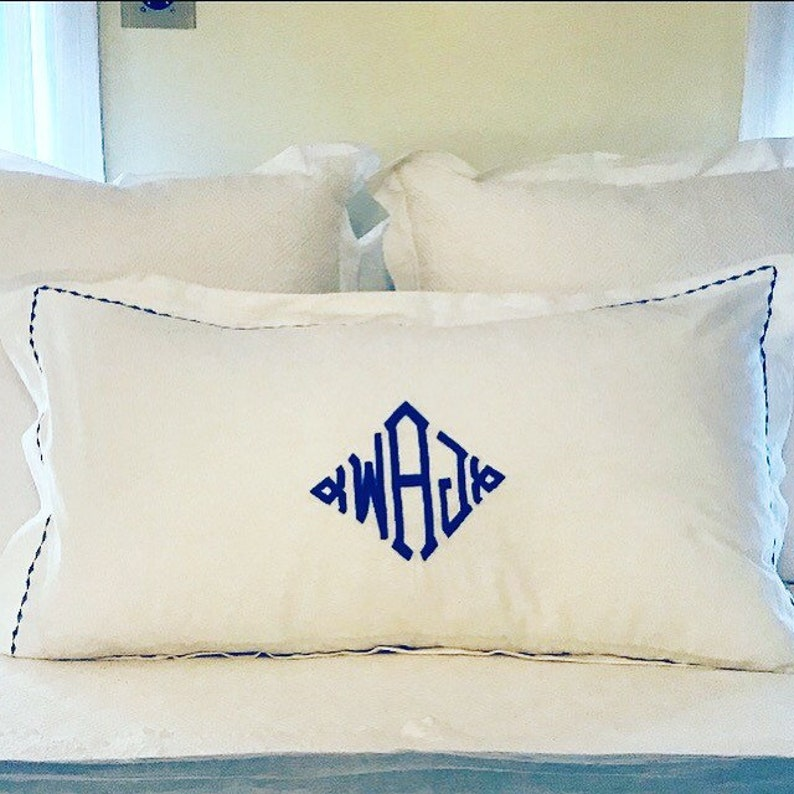 Monogram King Pillow Sham with Custom Embroidered Border / image 0