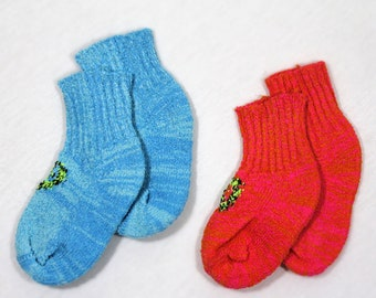 2- Pair -Size 0 to 3 months - Soft and Cozy Frosty Heart and Warm Heart  Fairy Tale baby socks - Made in California, USA