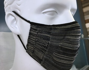 New York Gray Face Mask Size M/L washable reusable light sport weight Mask - elastic loops & Filter Pocket double Layer fabric - Made in USA